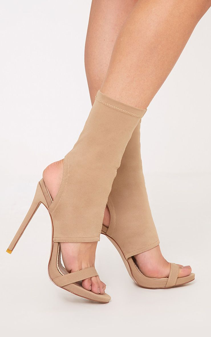 Etta Nude Cut Out Sock Heels