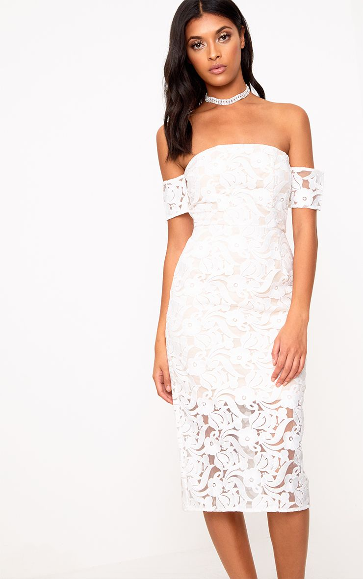White Lace Bardot Midi Dress