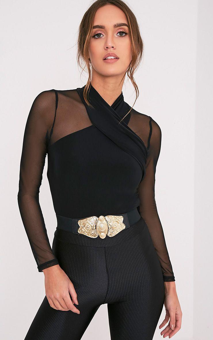 Nelo Black Vintage Style Buckle Waist Belt