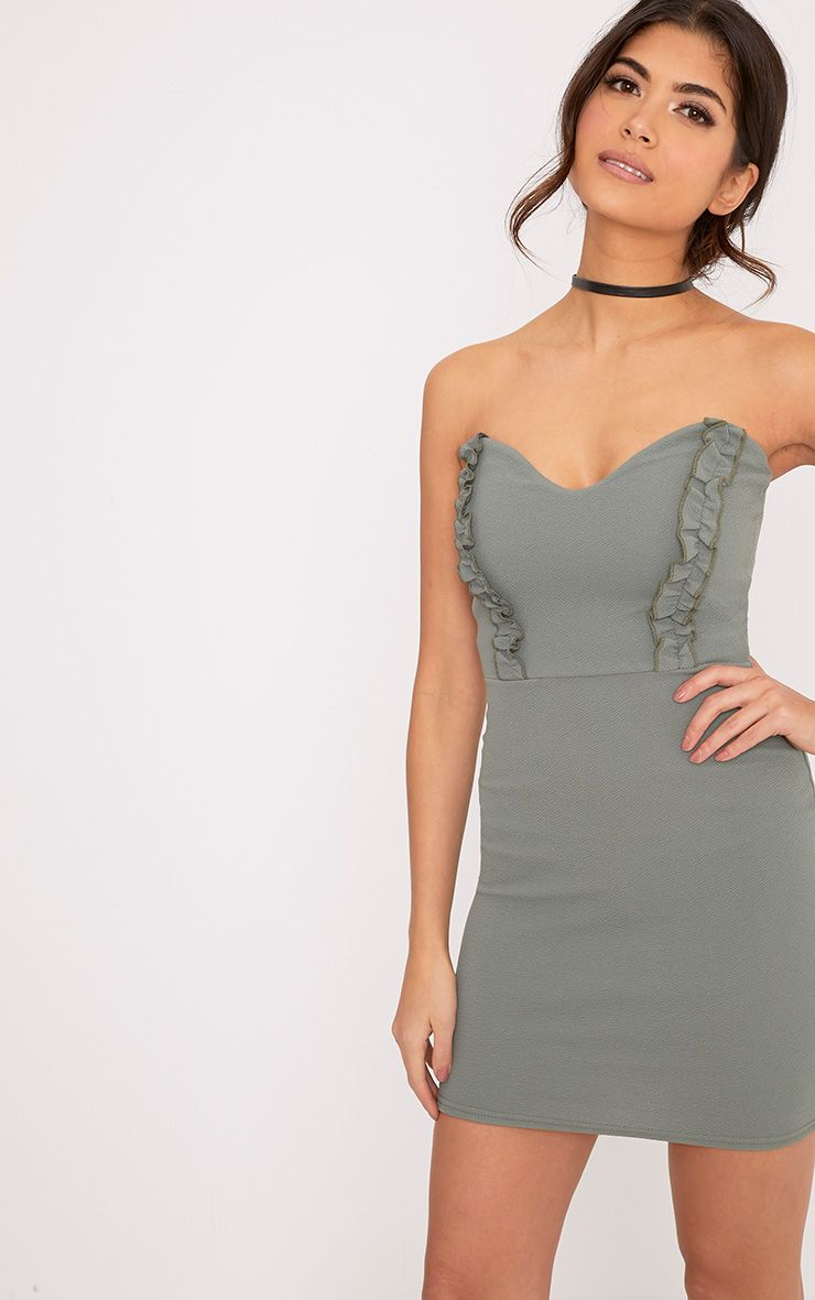 Darliella Khaki Bandeau Ruffle Detail Bodycon Dress