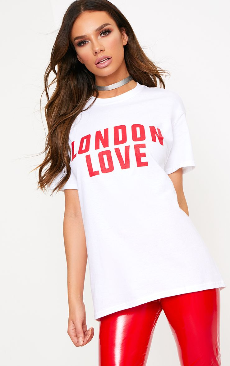 London Love Slogan White T Shirt