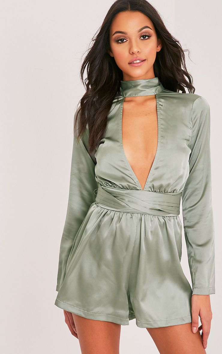 Allysia Sage Green Tie Choker Neck Playsuit