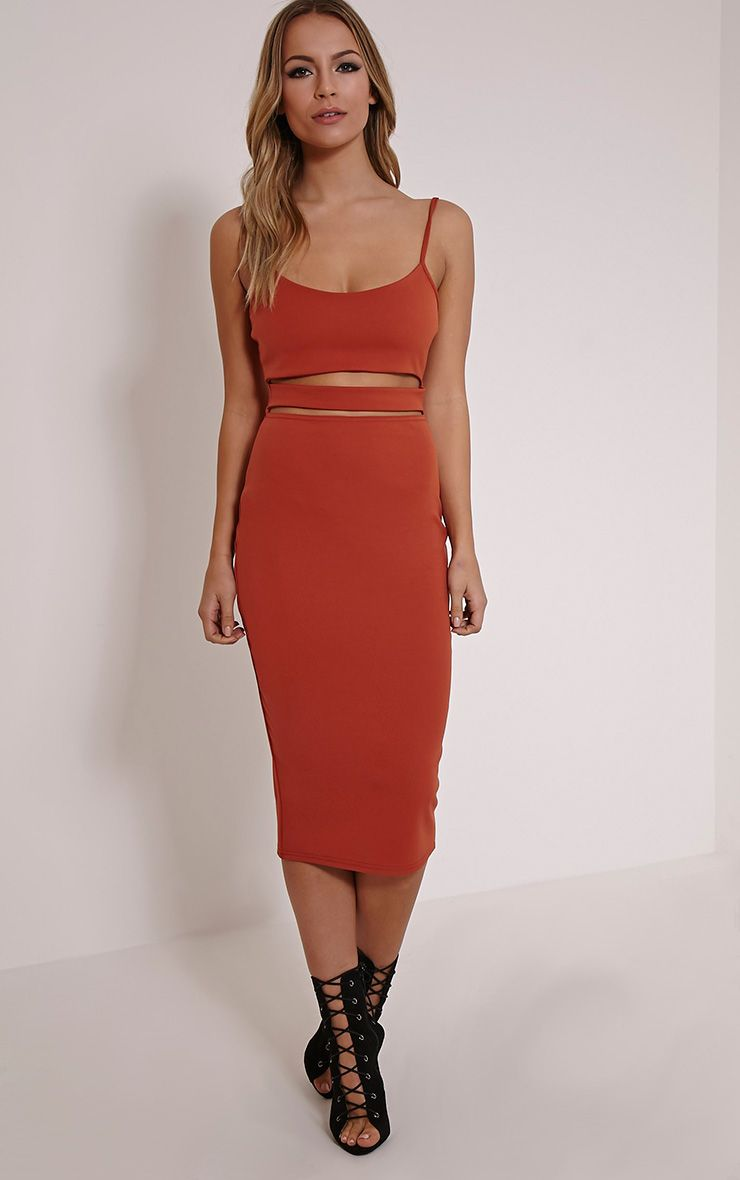 Kheelie Rust Cut Out Midi Dress 1