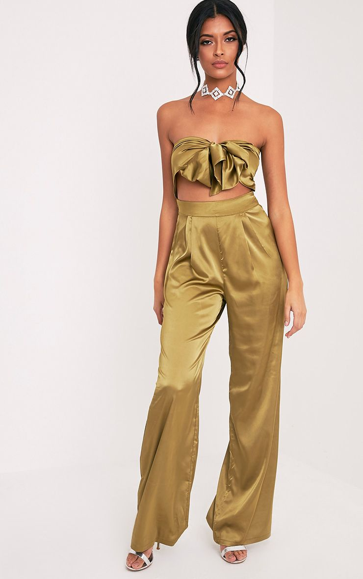Audrina Olive Knot Front Satin Jumpsuit 1