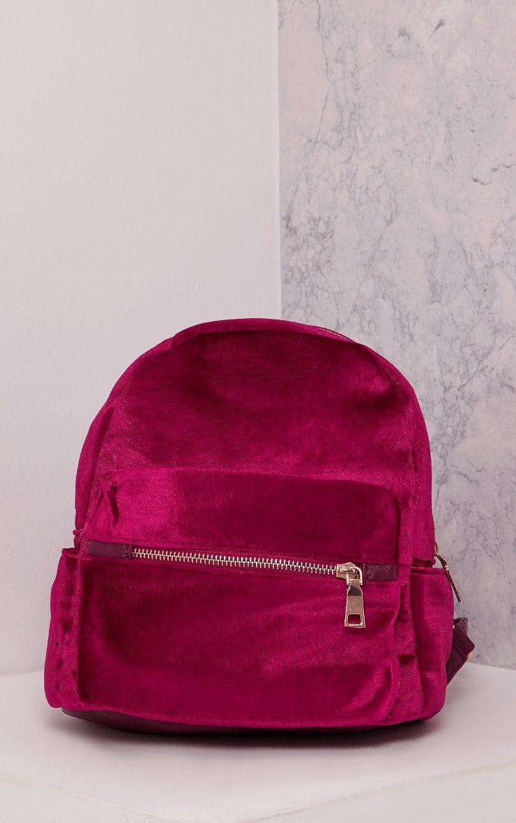 Jayci Burgundy Velvet Backpack