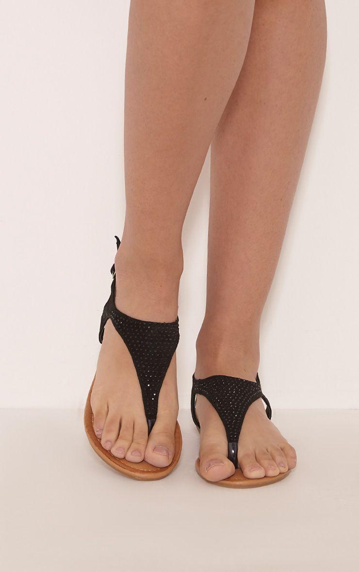 Kerina Black Embellished Sandals 1