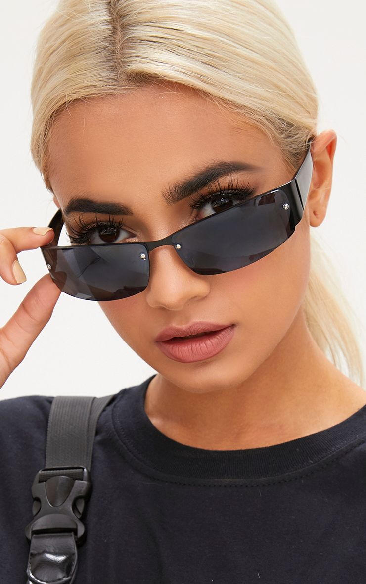 Black Thin Rectangle Retro Sunglasses 1