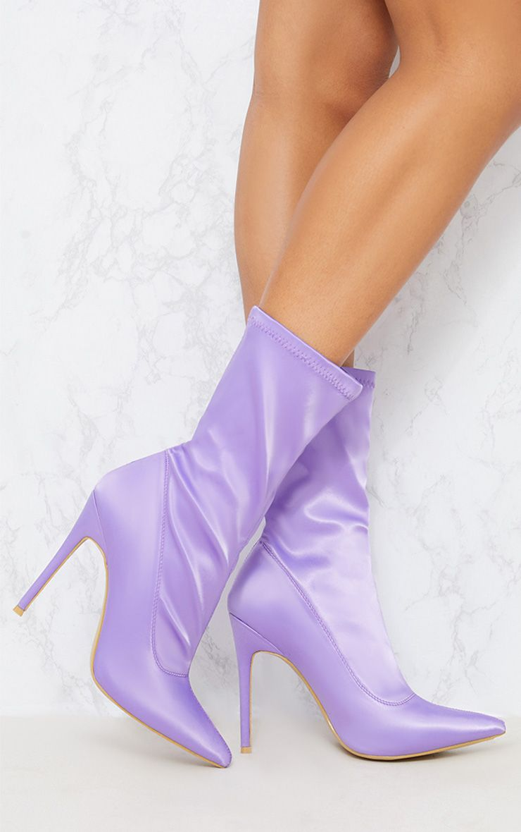 Lilac Lycra Sock Boot