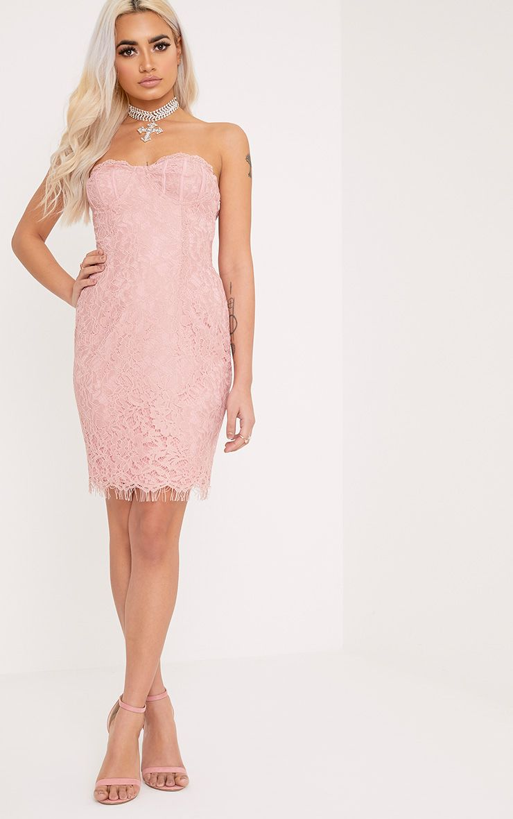Kreena Dusty Pink Lace Bandeau Bodycon Dress