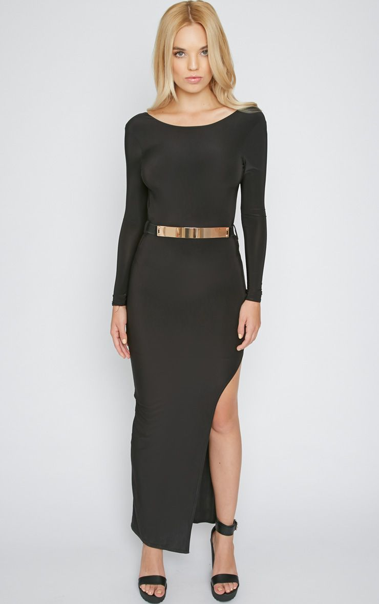 Ruby Black Maxi Dress With Gold Plate Belt 1