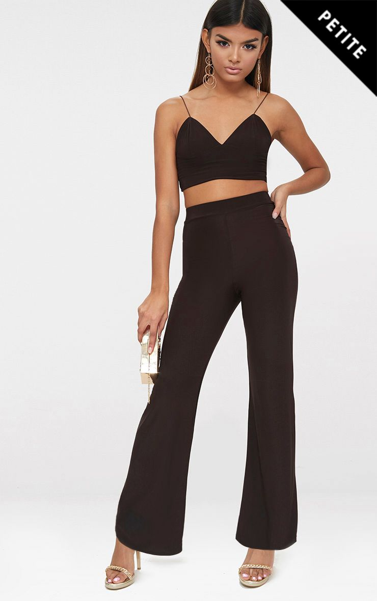 Petite Chocolate Kyleigh Slinky Wide Leg Trousers