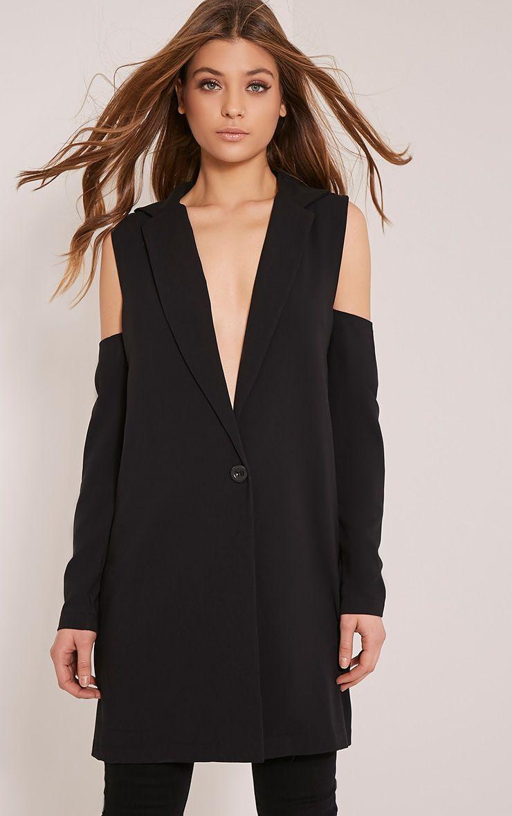 Ora Black Cold Shoulder Blazer 1