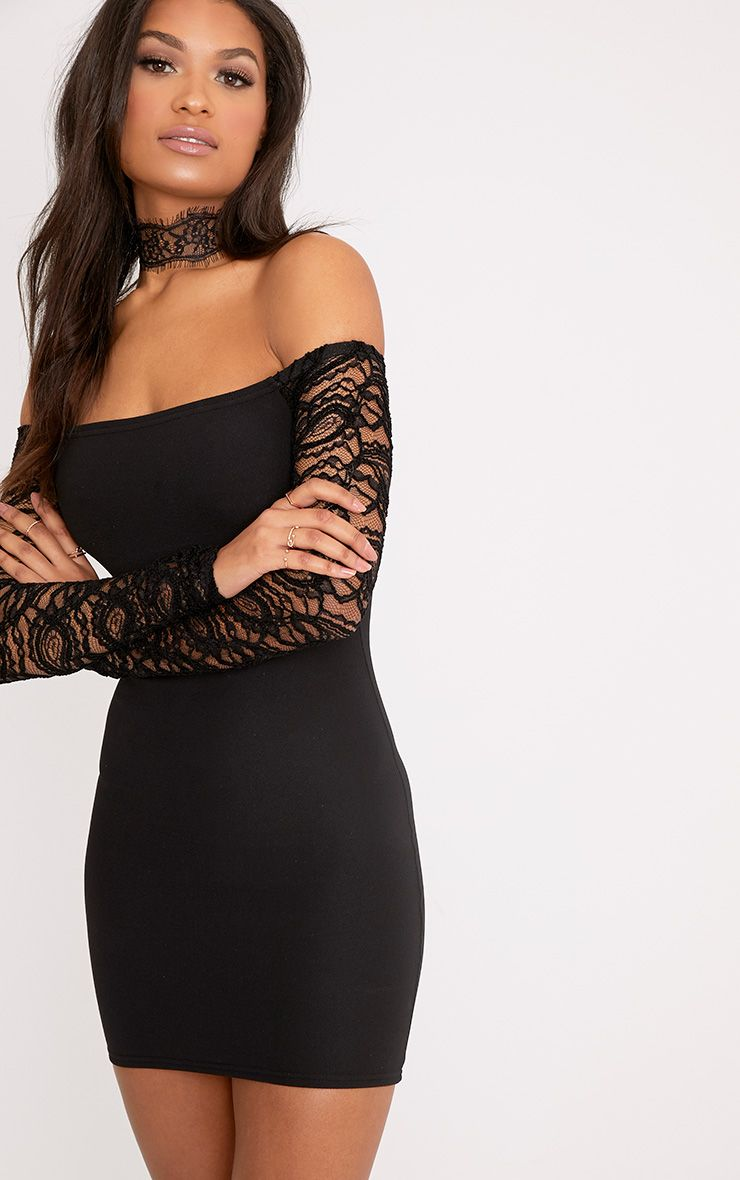 Larsia Black Lace Sleeve Bardot Bodycon Dress