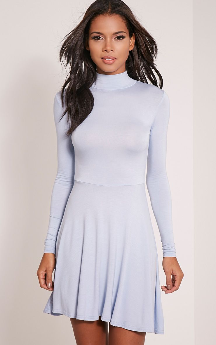 Basic Dusty Blue High Neck Skater Dress 1