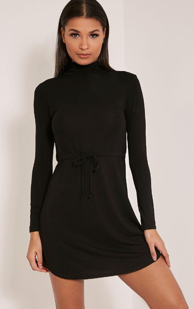 Dorathea Black Tie Waist Long Sleeve Jersey Dress 1