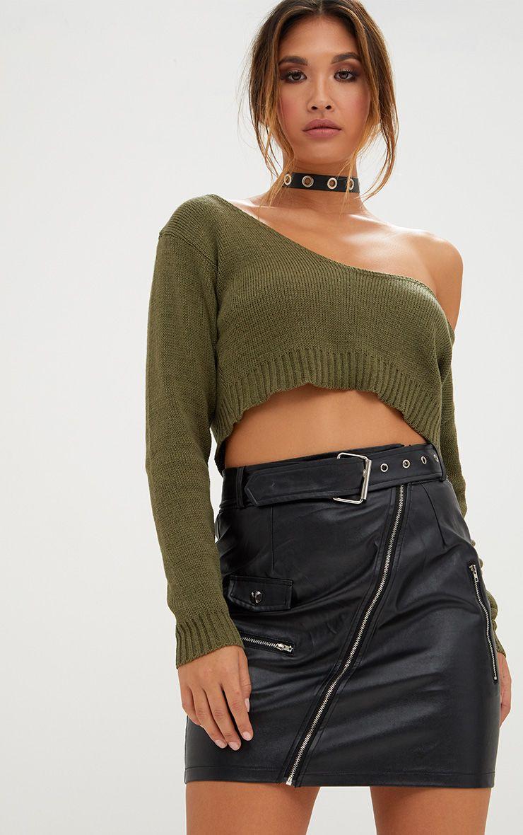 Khaki Off The Shoulder Crop Knitted Jumper