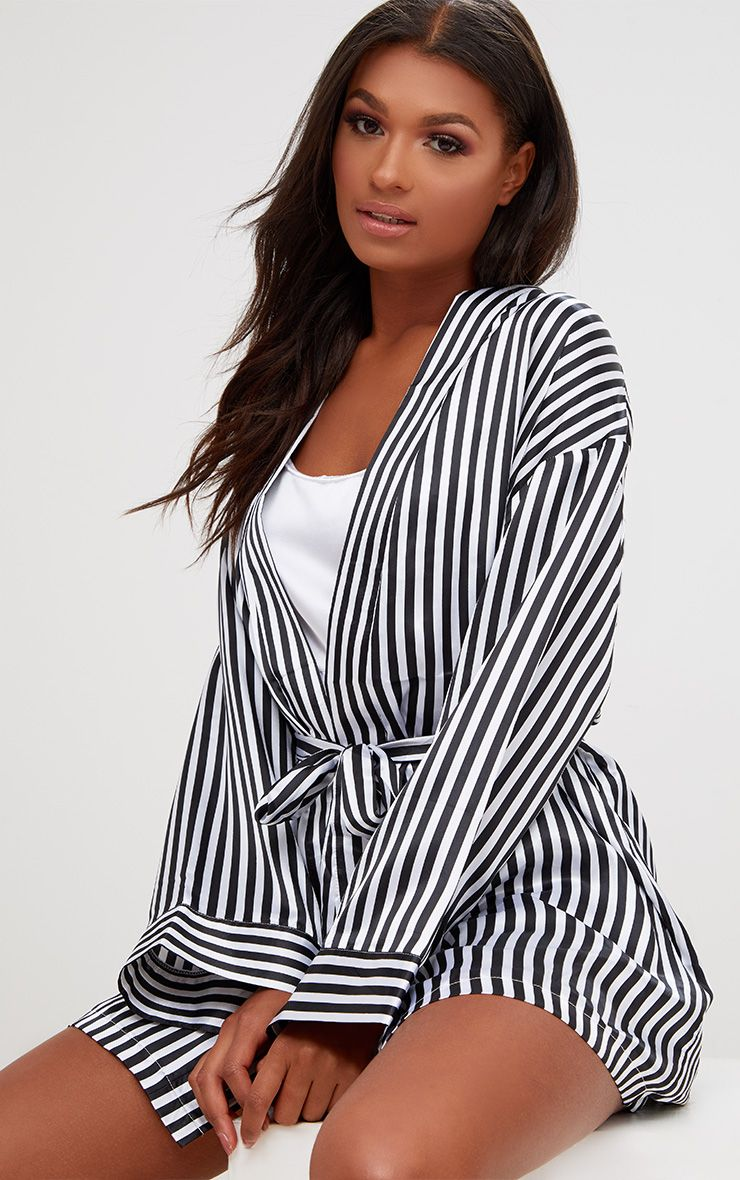 Black Striped Satin Dressing Gown