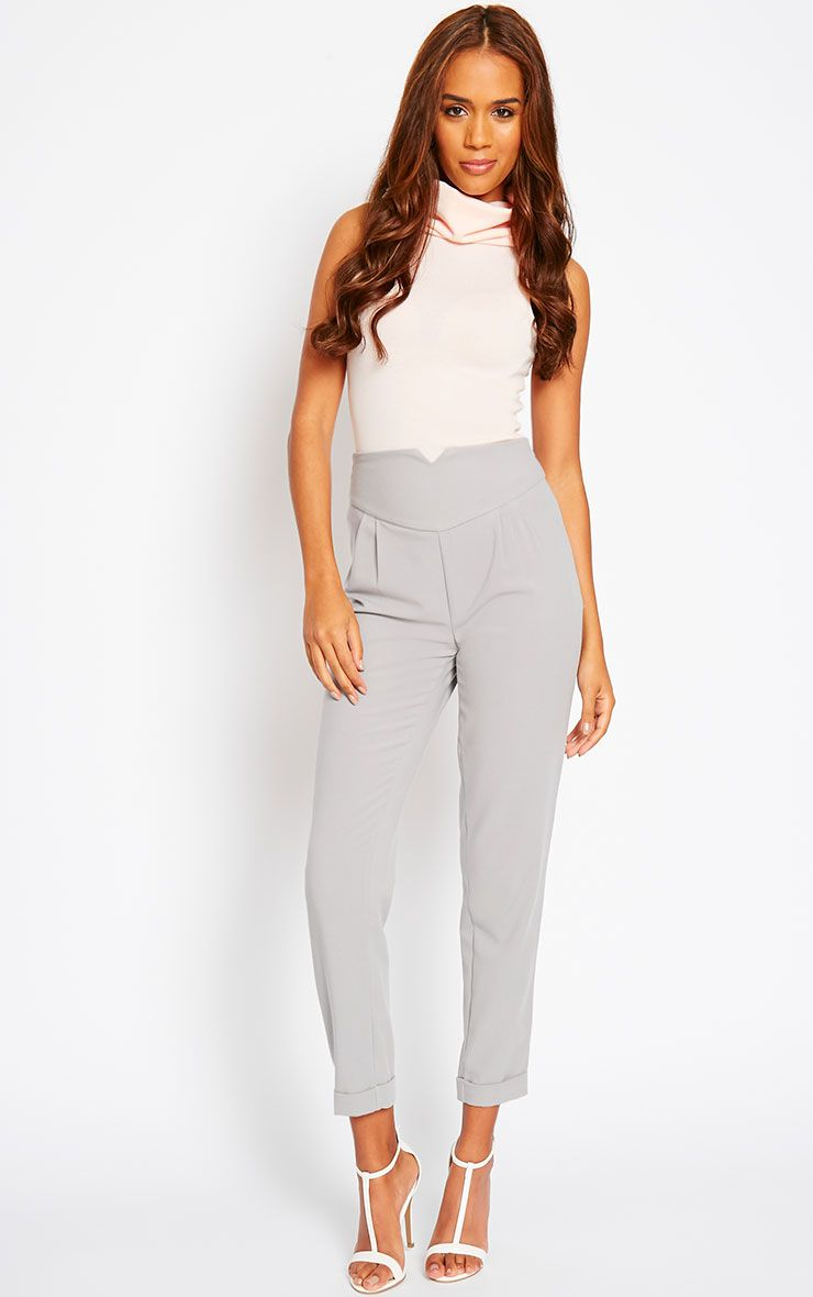 Elenor Light Grey High Waisted Tapered Trousers 1