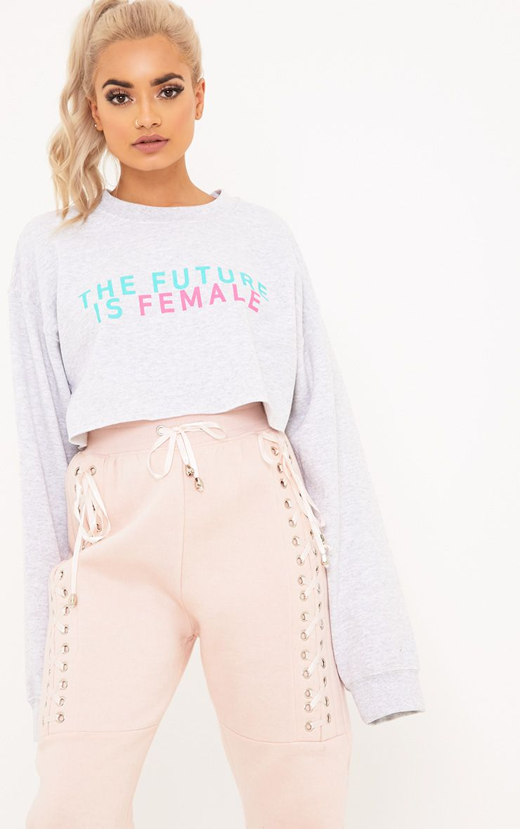 Future Female Slogan Grey Cropped Sweater