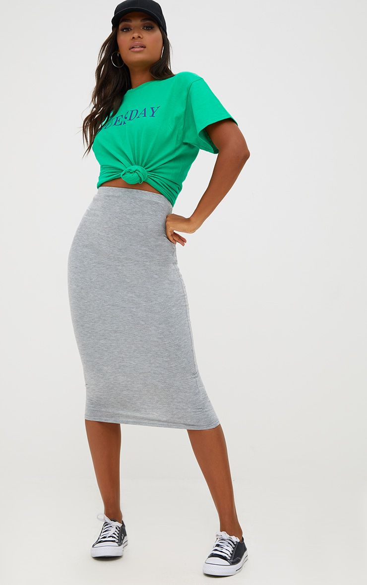 Grey Marl Ultimate Jersey Longline Midi Skirt