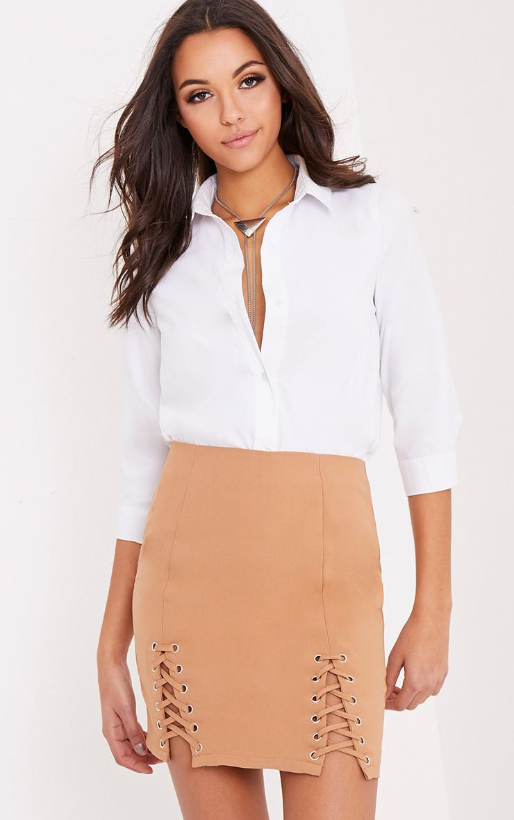 Lara Camel Double Lace Up Mini Skirt