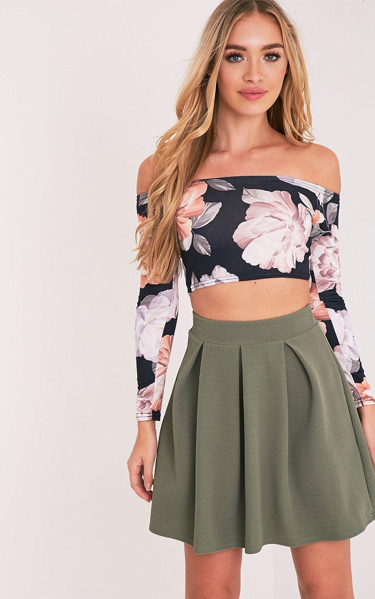 Tyra Khaki Box Pleat Full Mini Skirt 1