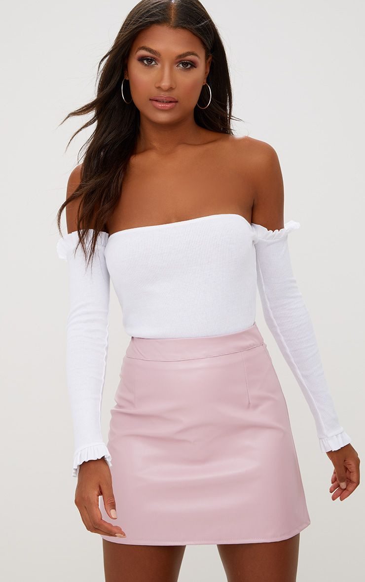 Rose Pink Faux Leather A-Line Mini Skirt