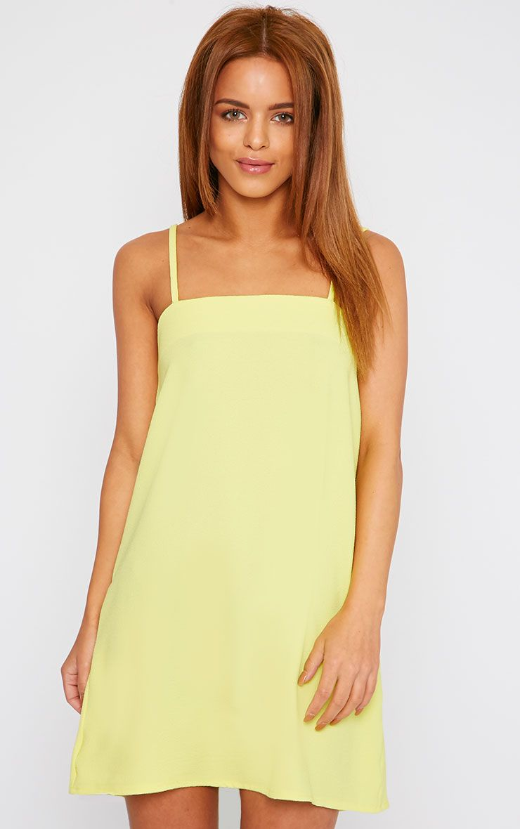 Joy Yellow Crepe Cami Swing Mini Dress 1