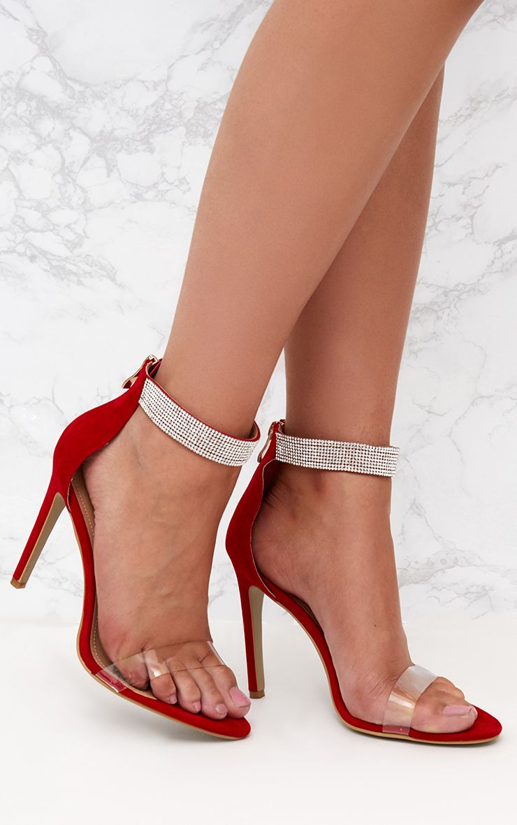 Red Faux Suede Diamante Strap Heeled Sandals