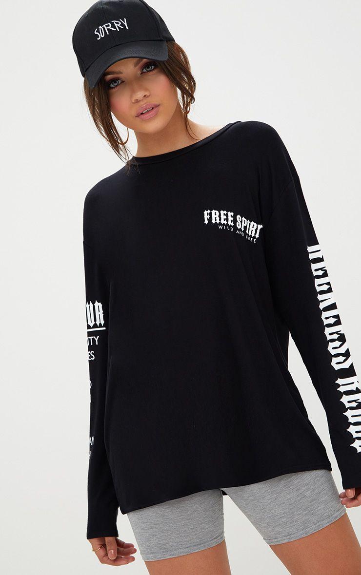Black Free Spirit Slogan Longsleeve T Shirt