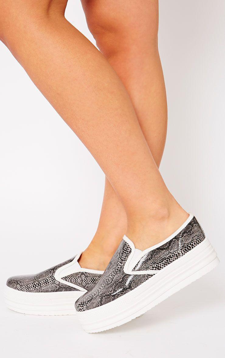 Katey Black Snake Flatform Skater Shoes 1