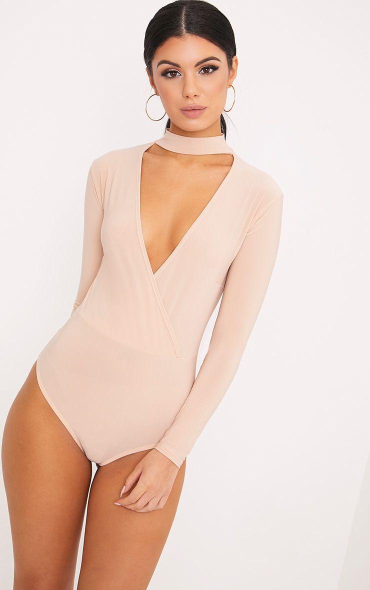 Sherrie Nude Cross Front Choker Bodysuit