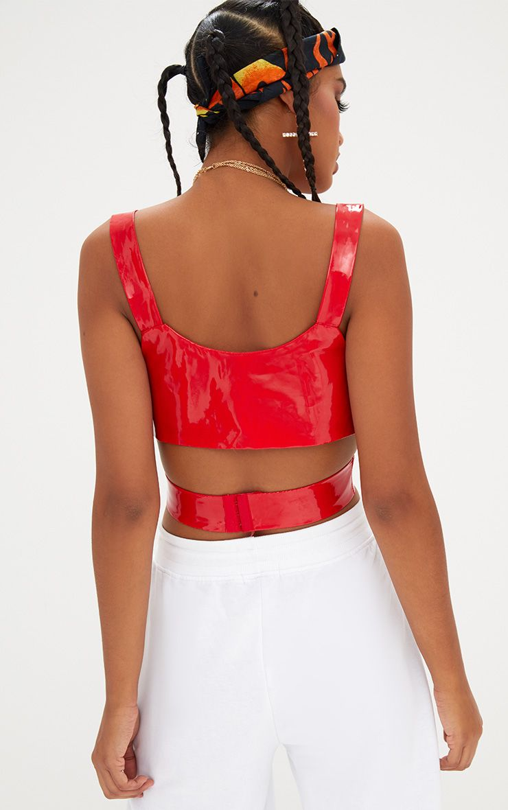 Red Vinyl Wrap Crop Top Tops Prettylittlething Usa