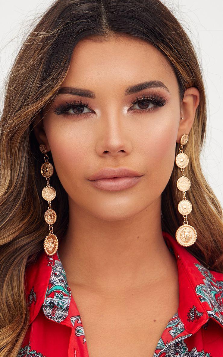 Gold Coin Drop Earrings 1