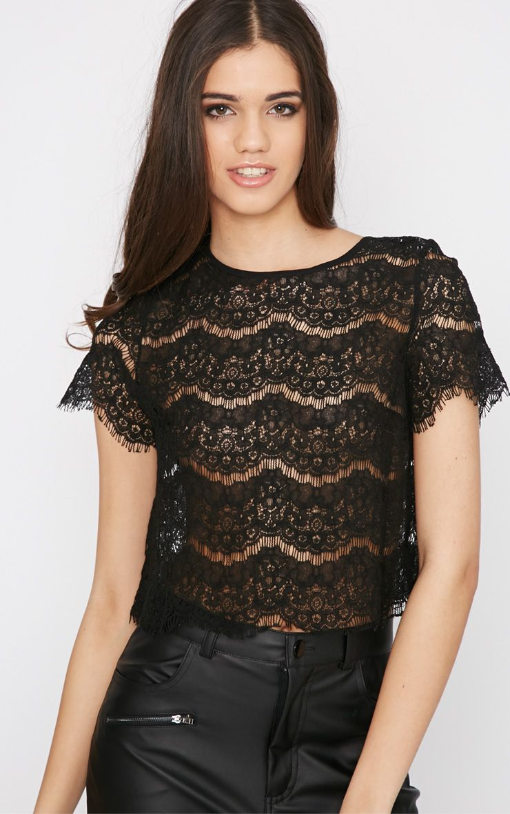 Ninette Black Lace Crop Top  1