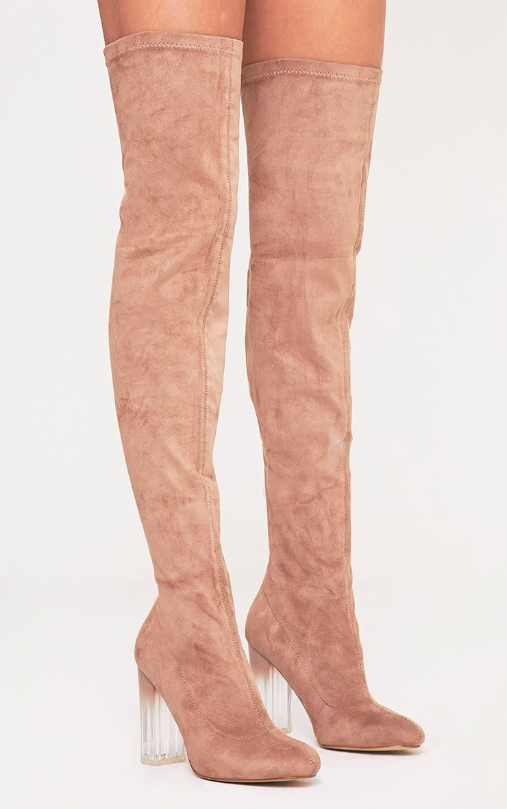 Fran Taupe Faux Suede Ombre Heel Over The Knee Boots 1