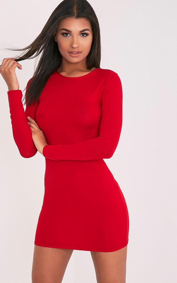 Secret 7 bodycon 3 long sleeve dresses red