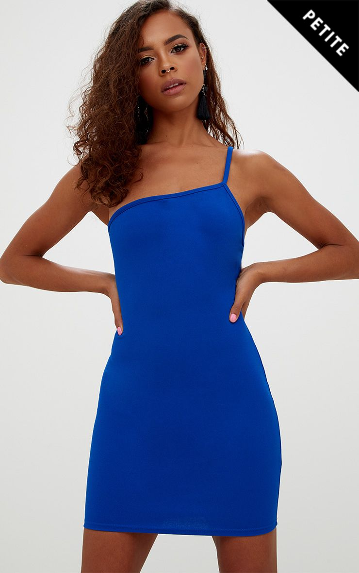 Petite Cobalt Single Strap Bodycon Dress