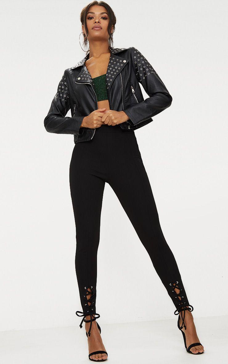 Black Lace Up Hem Skinny Trousers