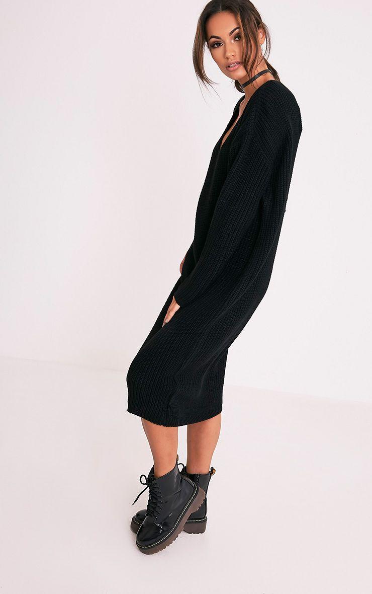 Breeze robe pull surdimensionnée à col en V noire 4