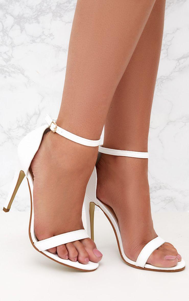 White Snake Print Strap Heeled Sandals