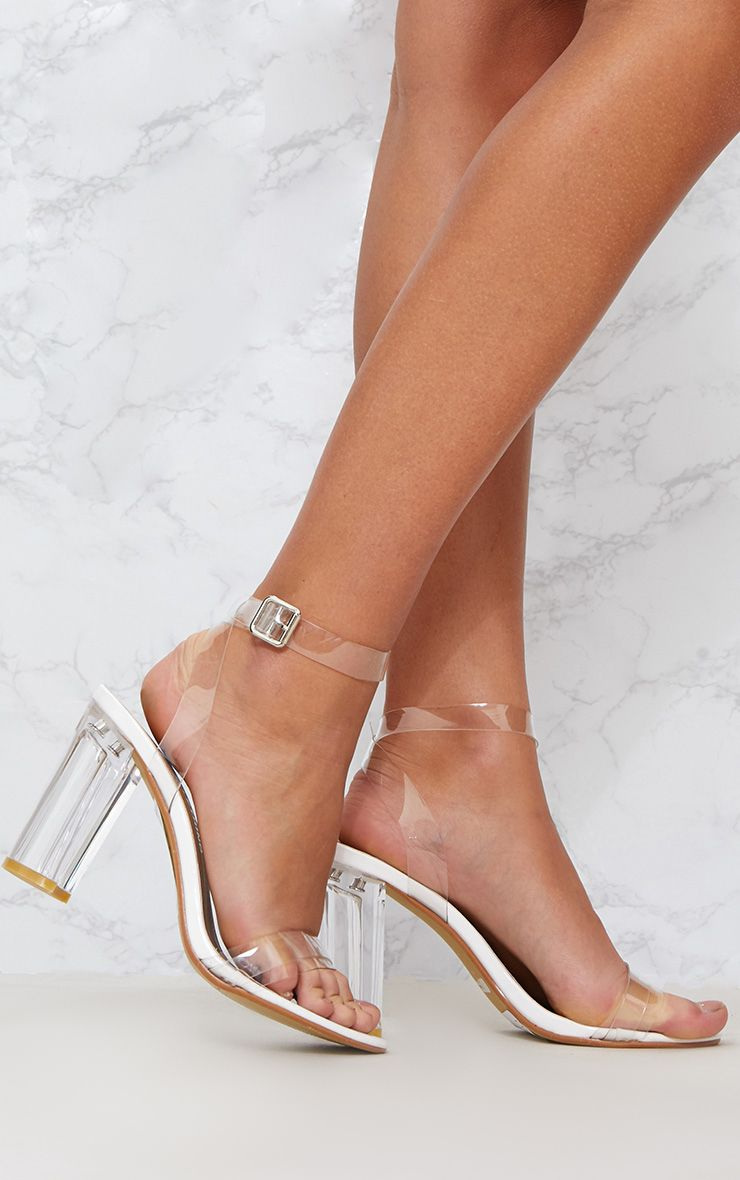 White Clear Block Heel Sandal