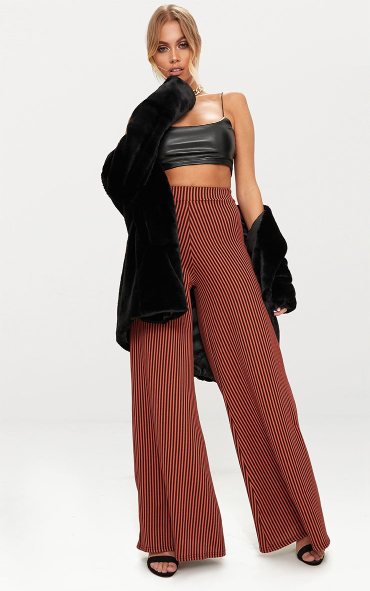 Rust Ribbed Pinstripe Wide Leg Trousers
