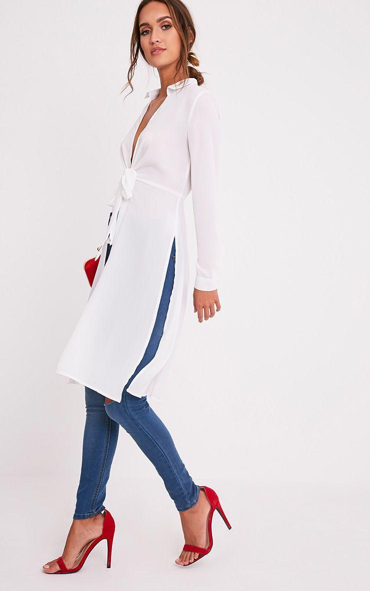 c4342b08a8718 Meredith Cream Tie Waist Longline Blouse - Tops - PrettylittleThing ...