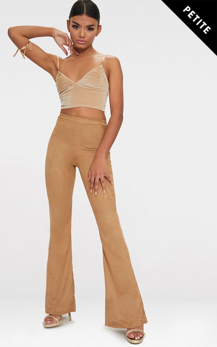Petite Tobacco Suedette Flared Trousers