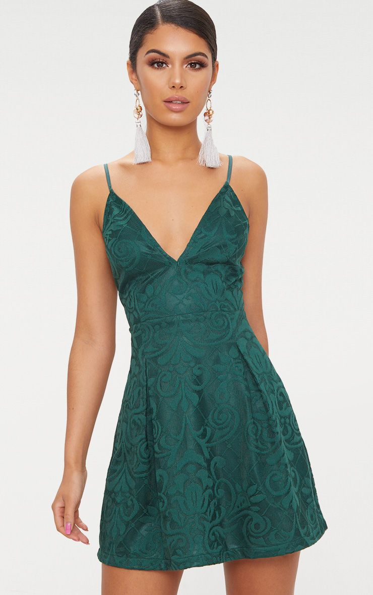 Emerald Green Lace Plunge Skater Dress 1