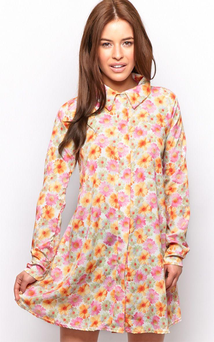 Lyla Orange Daisy Print Chiffon Shirt Dress  1