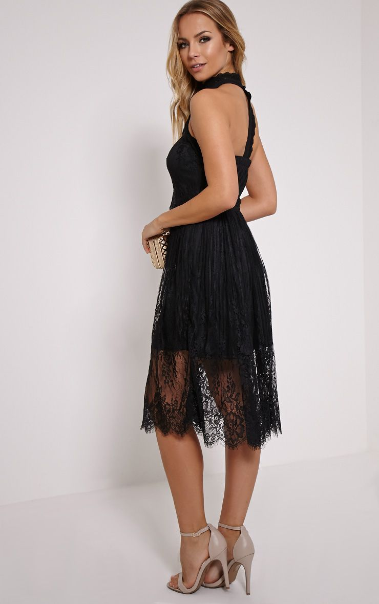 Shirl Black Racer Neck Lace Skater Dress 1