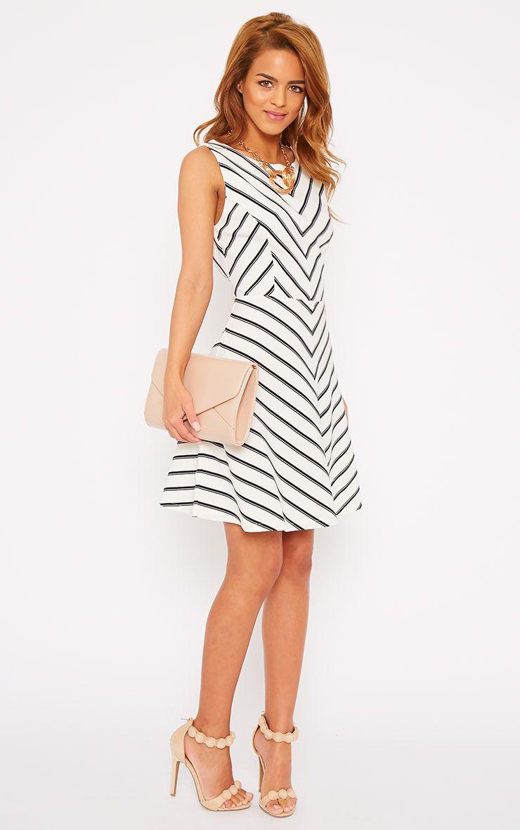 Bobbi White Stripe Open Back Skater Dress 1
