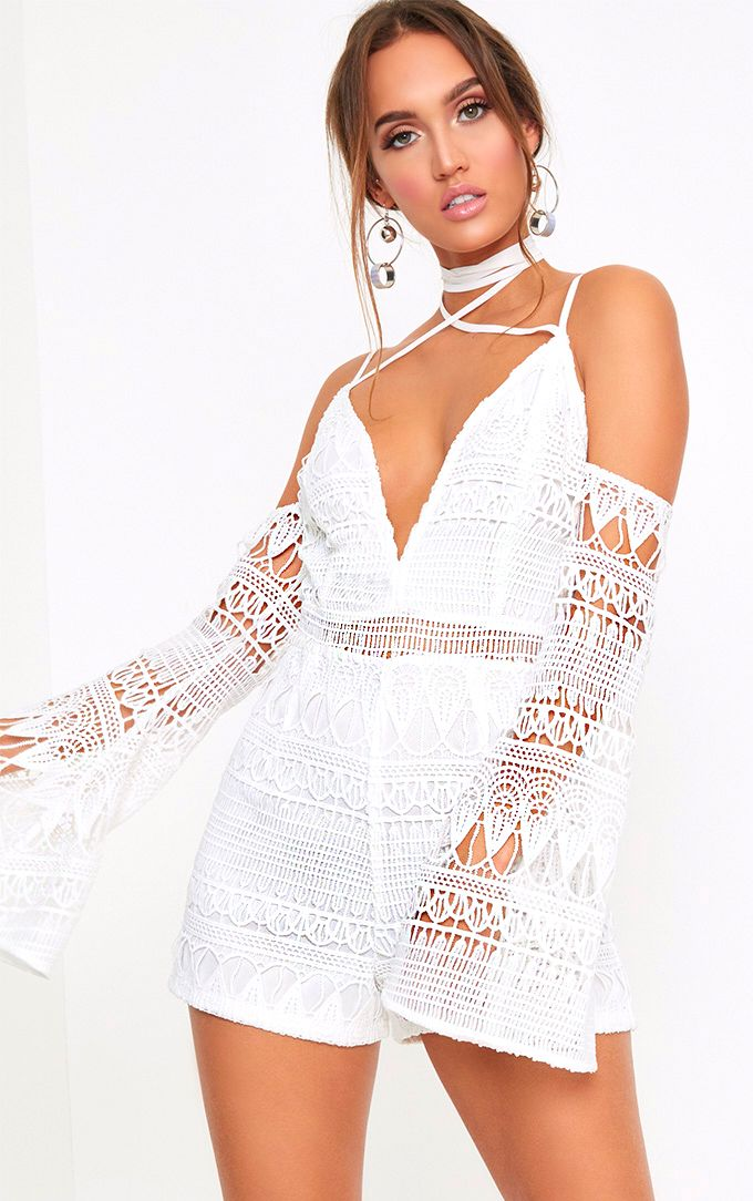 White Lace Cold Shoulder Tie Neck Playsuit